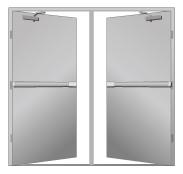Fire Rated Metal Doors Double Door With Mullion Door